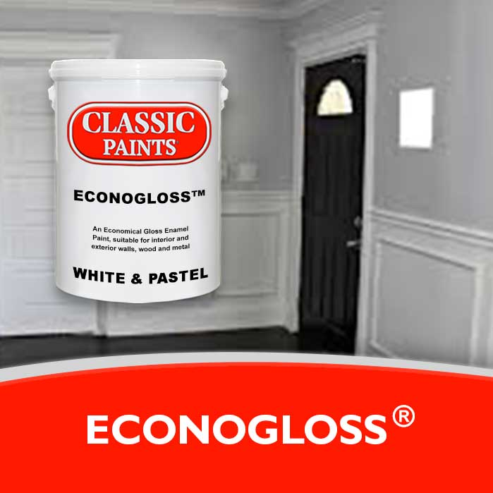 A gloss enamel paint, suitable for interior and exterior walls, wood and metal.